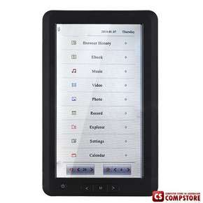 "E-Book Reader Media Player PDF Reader with Voice Recorder 7"" Touch Screen 8 GB"