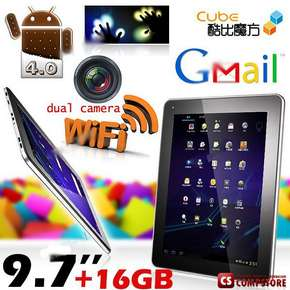 "Планшет ""Sicube"" 9.7"" 10-points Touch Screen Android 4.0 OS/ 16GB / Tablet Flat PC MID with Dual Camera (RAM 726.3MB GPU GC800)"