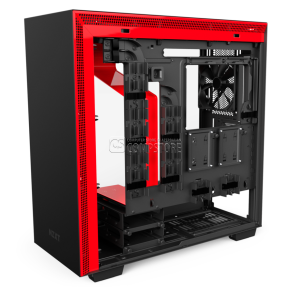 NZXT H700I Matte Black & Red Computer Case (CA-H700W-BR)