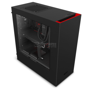 NZXT S340  Black and Red Windowed Mid Tower Gaming Case (CA-S340MB-GR)
