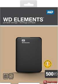 "Внешний жесткий диск WD Elements Portable 500Gb EXT 2.5"" USB3.0 (WDBUZG5000ABK-EESN)"