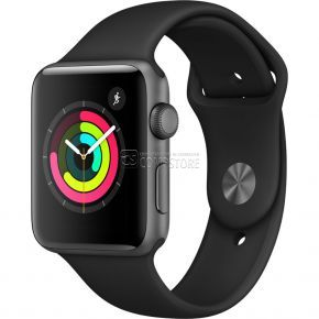 Apple Watch Series 3 42mm Smartwatch  (MQL12LLA) (GPS Only, Space Gray Aluminum Case, Black Sport Band)