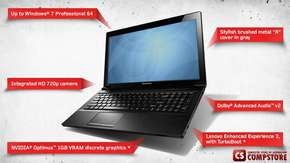 "Ноутбук Lenovo IdeaPad V580C (59394313) (Intel® Core™ i3-3120M/ DDR3 4 GB/ HDD 500 GB/ GeForce GT740 1 GB/ HD LED 15.6""/ Bluetooth/ DVD RW)"