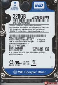 Жесткий диск для ноутбука Western Digital 320 GB SATA (WD3200BPVT) WD Scorpio Blue 5400 rpm