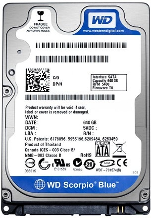 Жесткий диск для ноутбука Western Digital 640 GB SATA (WD6400BPVT) WD Scorpio Blue 5400 rpm