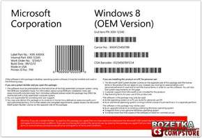 Microsoft Windows 8 Standard 64 bit OE, English Version (WN7-00403)